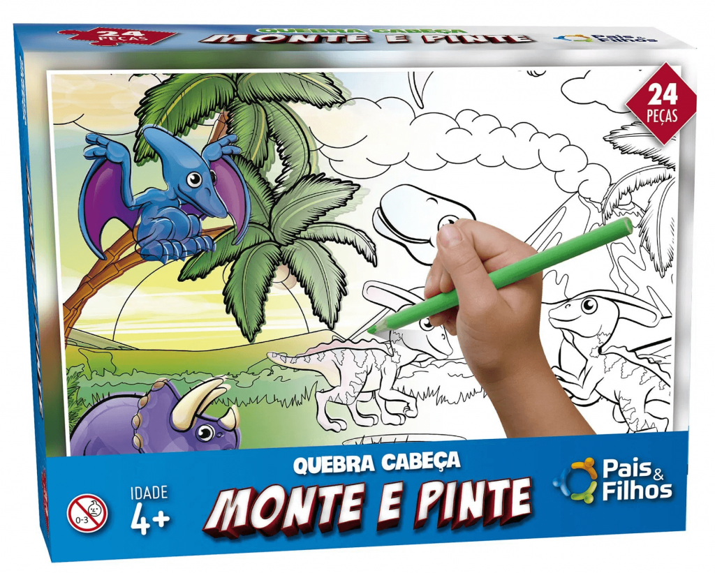 Quebra-cabeça Monte e Pinte Dino - quebra-cabeça infantil